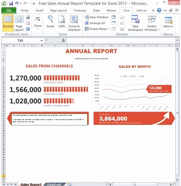 Financial Report Template Excel Lovely Free Sales Annual Report Template for Excel 2013