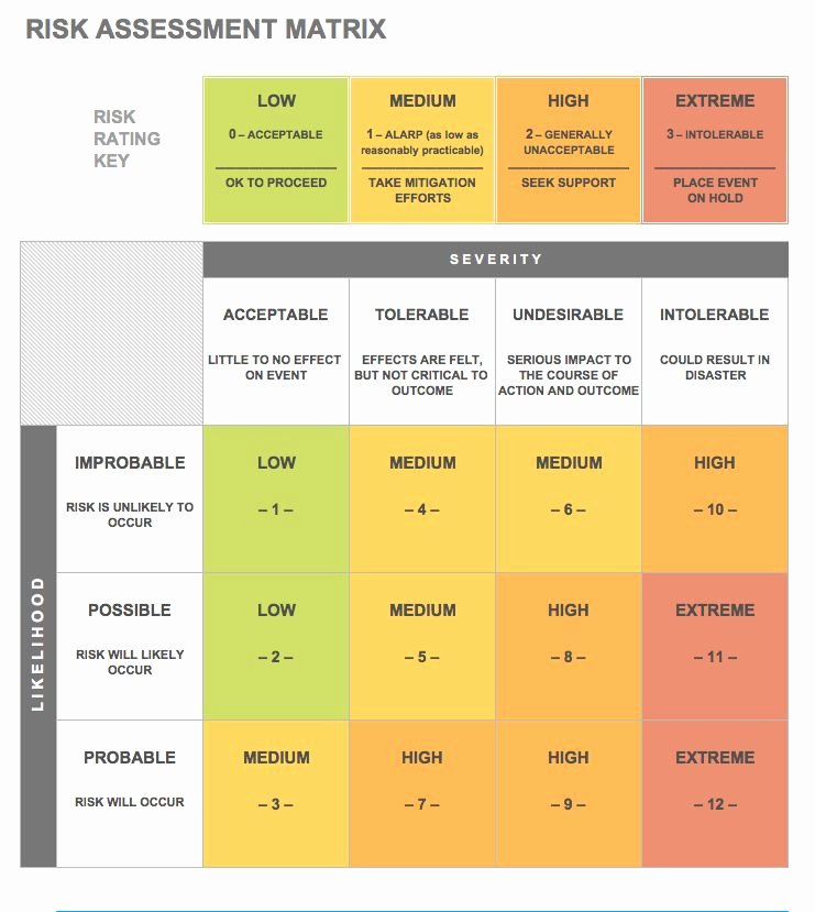 Financial Risk assessment Template Awesome Risk Matrix Template Excel