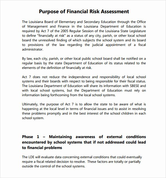 Financial Risk assessment Template Fresh 9 Risk assessment Samples