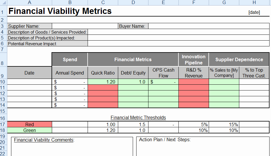 Financial Risk assessment Template Luxury Supplier Financial Viability Template
