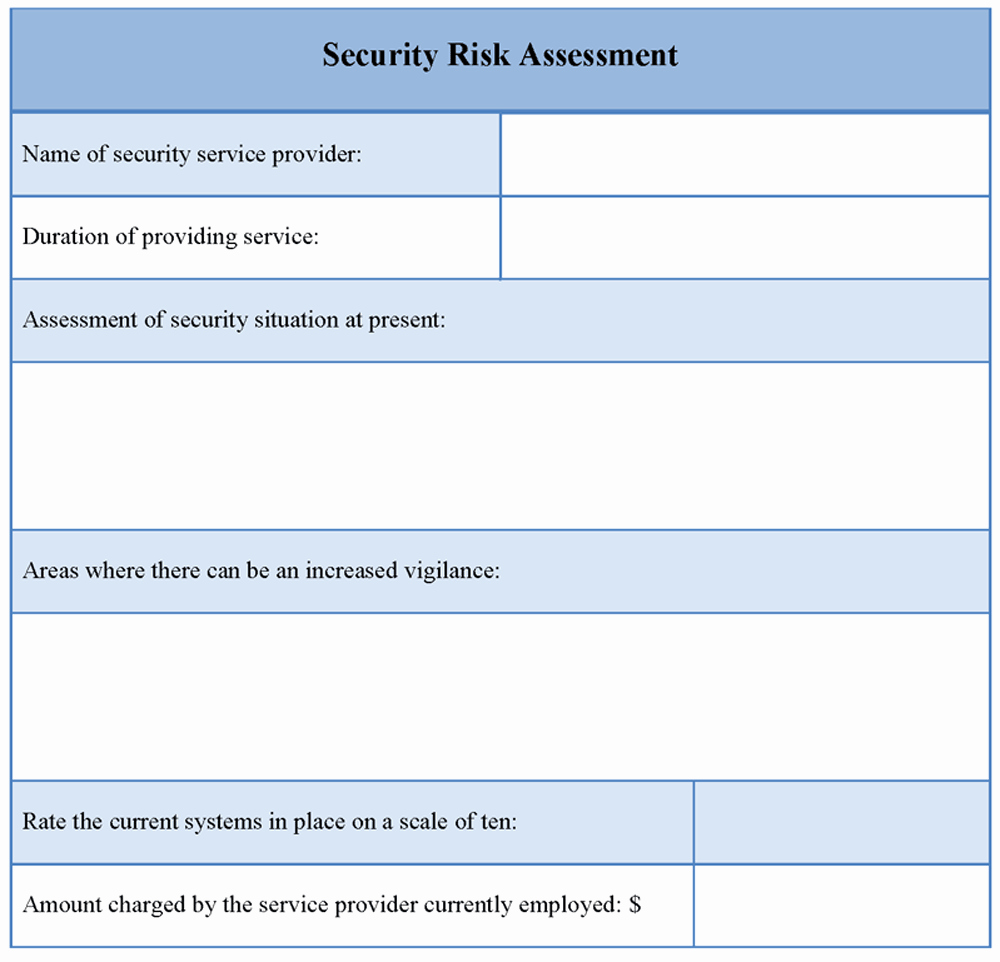 Financial Risk assessment Template New Risk assessment Template