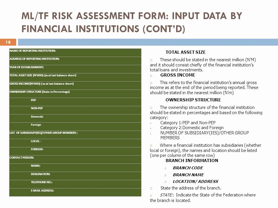 Financial Risk assessment Template Unique Financial Policy & Regulation Department Central Bank Of