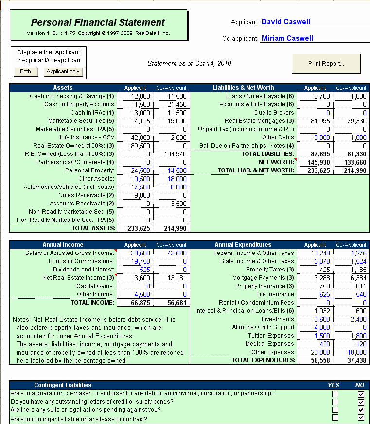 Financial Statements Excel Template Beautiful Sba Personal Financial Statement Excel Template Small