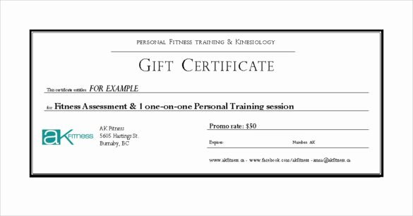 Fitness Gift Certificate Template Best Of Fitness Gift Certificate Templates – 7 Free Word Pdf
