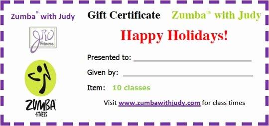 Fitness Gift Certificate Template Elegant Jro Fitness Gift Certificate Zumba with Judy