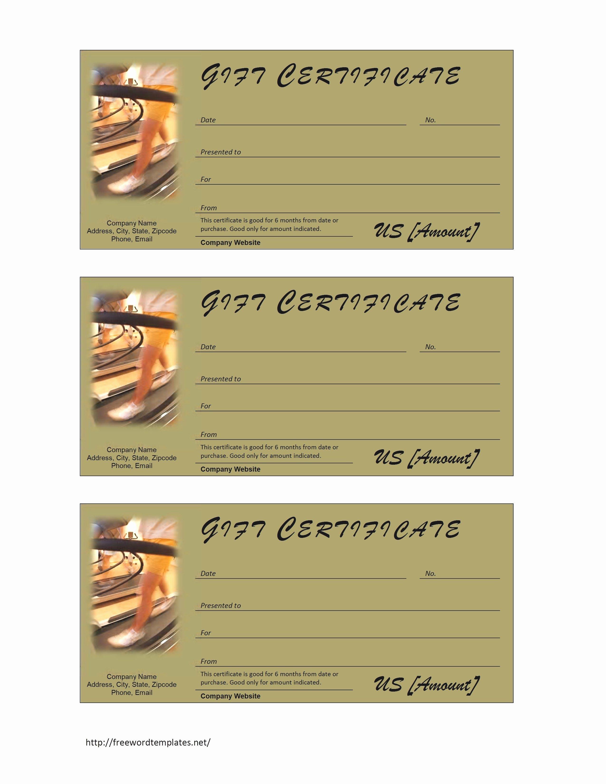 Fitness Gift Certificate Template Inspirational Business Certificate Templates Mughals