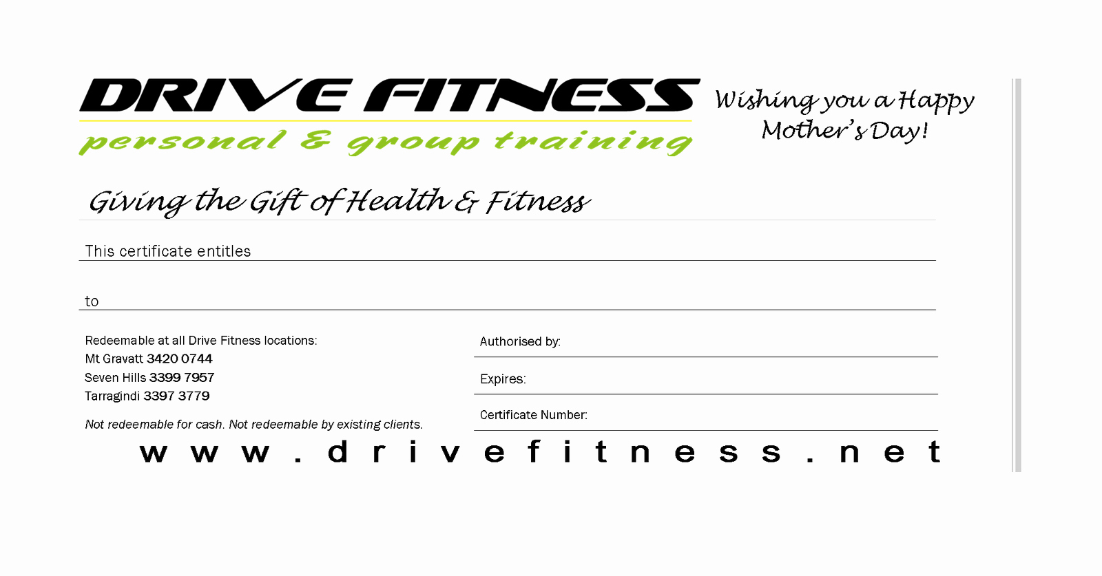 Fitness Gift Certificate Template Inspirational Drive Fitness Blog Mother S Day Gift Certificates