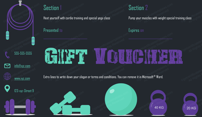 Fitness Gift Certificate Template Inspirational Gym Gift Certificate Template Tcard Tvoucher
