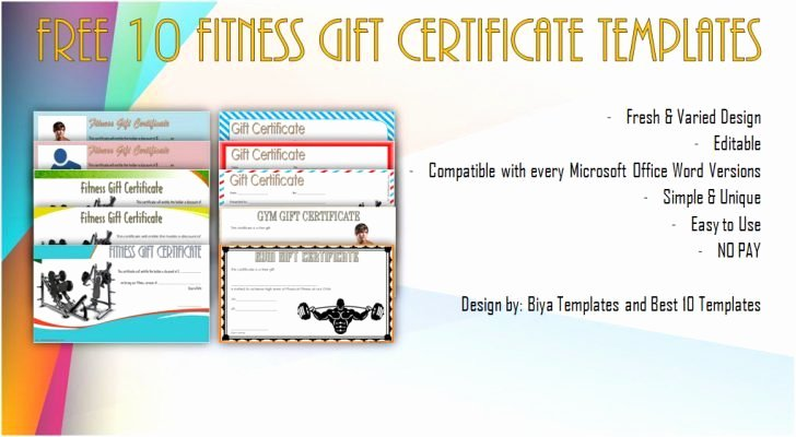 Fitness Gift Certificate Template Luxury Fitness Gift Certificate Template Image – 36 Free Gift