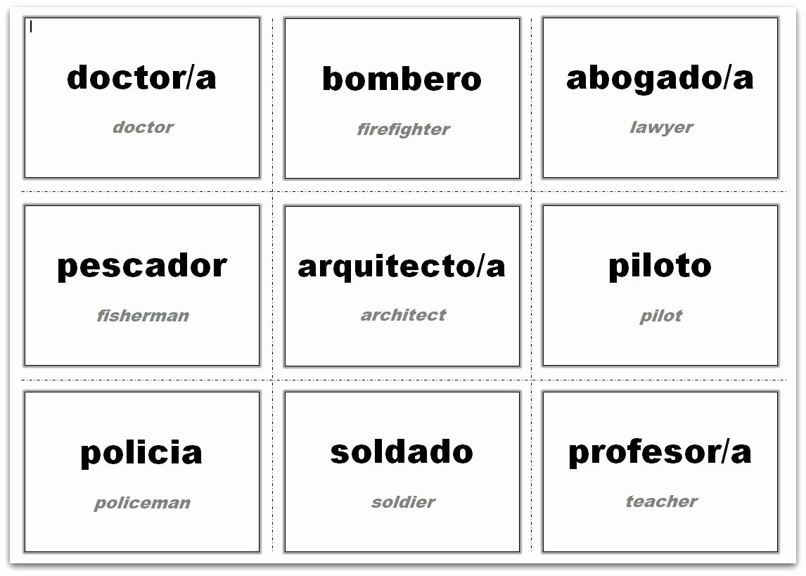 Flash Card Template Pdf New Vocabulary Flash Cards Using Ms Word