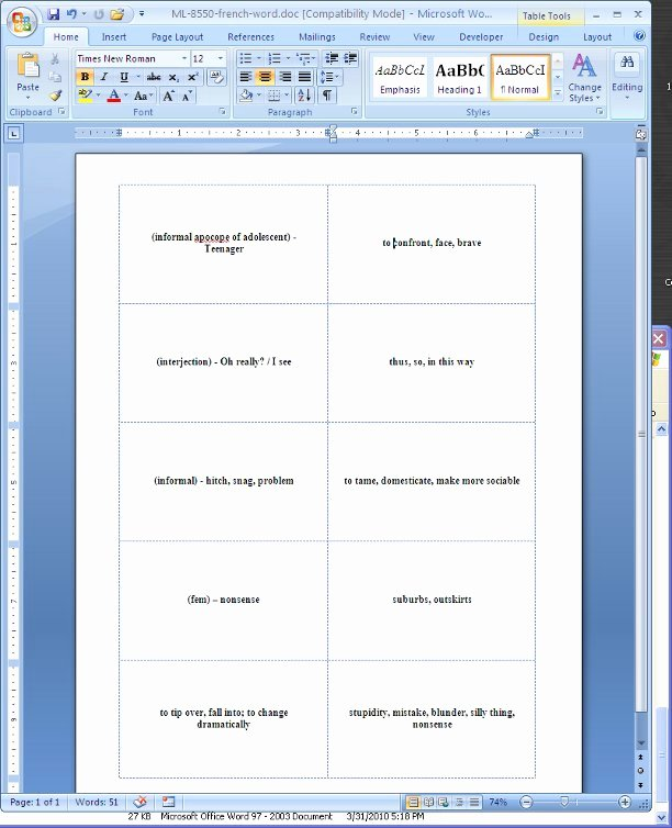 Flash Card Template Word Luxury Flash Cards Template for Microsoft Word 2003 Free