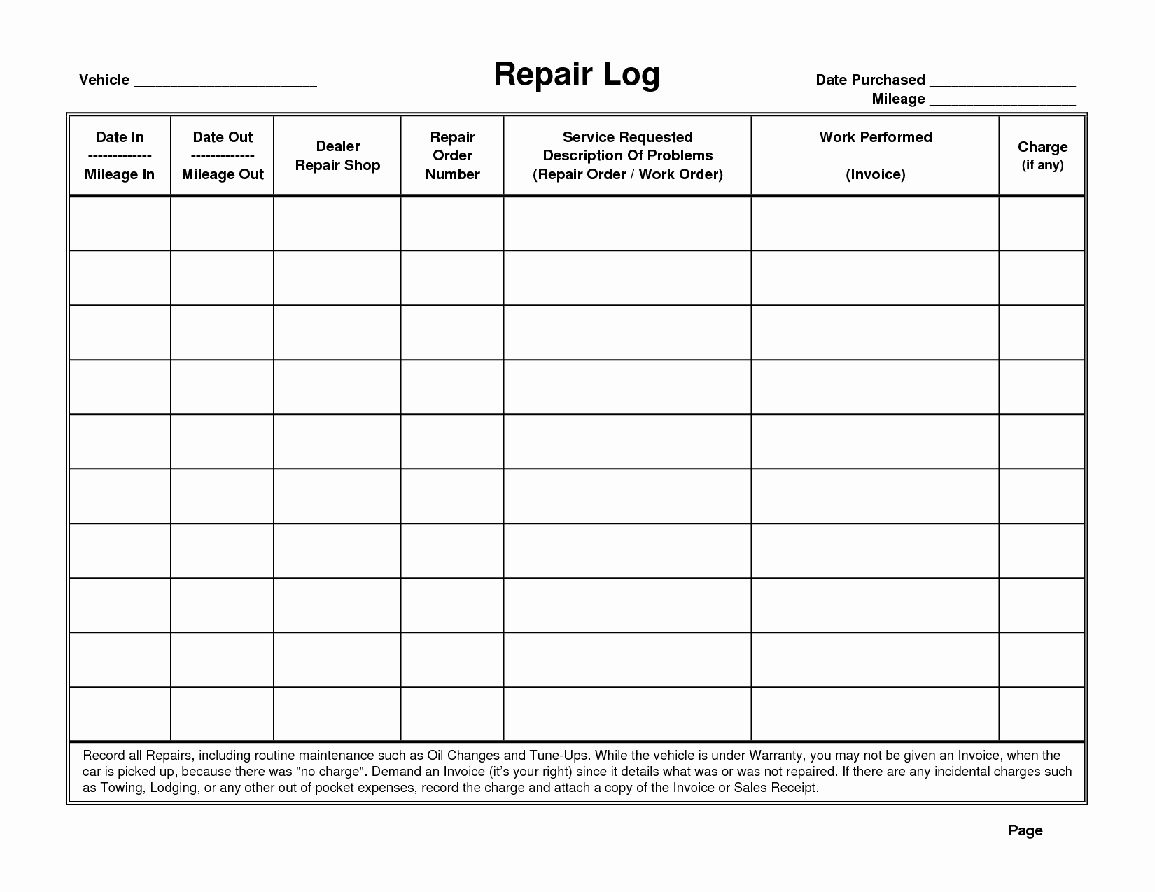 Fleet Vehicle Maintenance Log Template Inspirational 5 Best Of Printable Vehicle Maintenance Logs Sheets