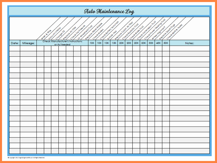 Fleet Vehicle Maintenance Log Template Lovely Basic Car Maintenance Schedule