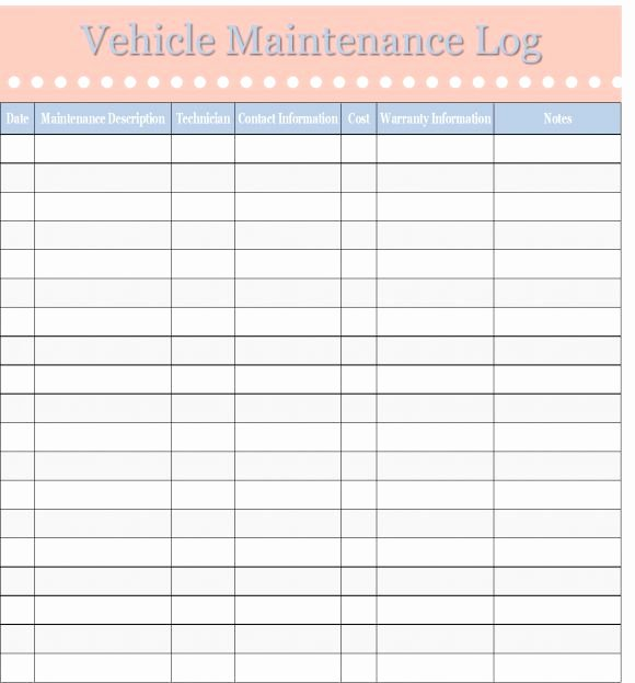 Fleet Vehicle Maintenance Log Template Lovely Printable Vehicle Maintenance Log Template Excel Template