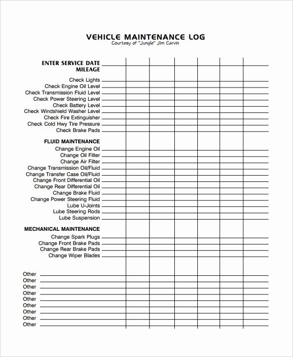 Fleet Vehicle Maintenance Log Template New Maintenance Log Template 11 Free Word Excel Pdf