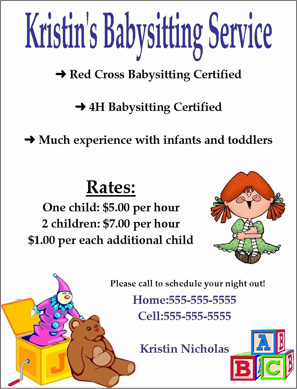 Flyer Template Free Word Luxury Babysitting Flyer Template Word Google Search