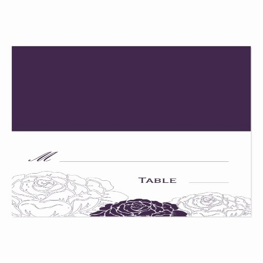 Foldable Business Card Template Luxury Rose Garden Folded Wedding Place Card Purple