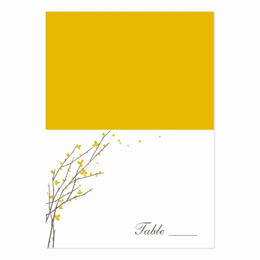 Folded Business Card Template Elegant Blooming Branches Folded Place Cards Mustard Business