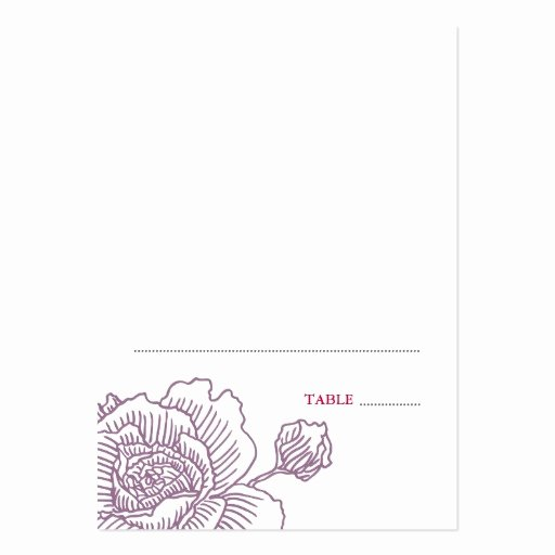 Folded Business Card Template Elegant Hand Drawn Rose Folded Place Cards Purple Business Card