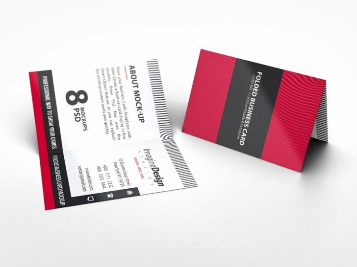 Folded Business Card Template Inspirational Folded Postcard Mockup