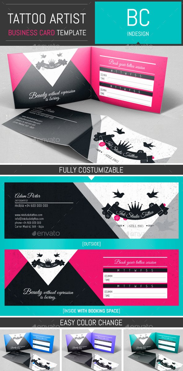 Folded Business Card Template Lovely Tattoo Artist Folded Business Card Template by Dogmadesign