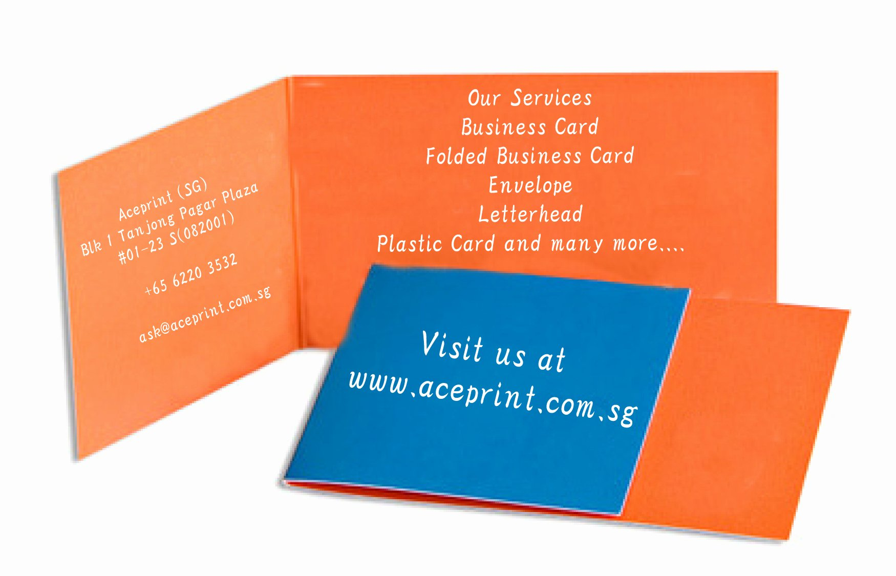 Folded Business Cards Template Luxury Singapore Printing Service Aceprint