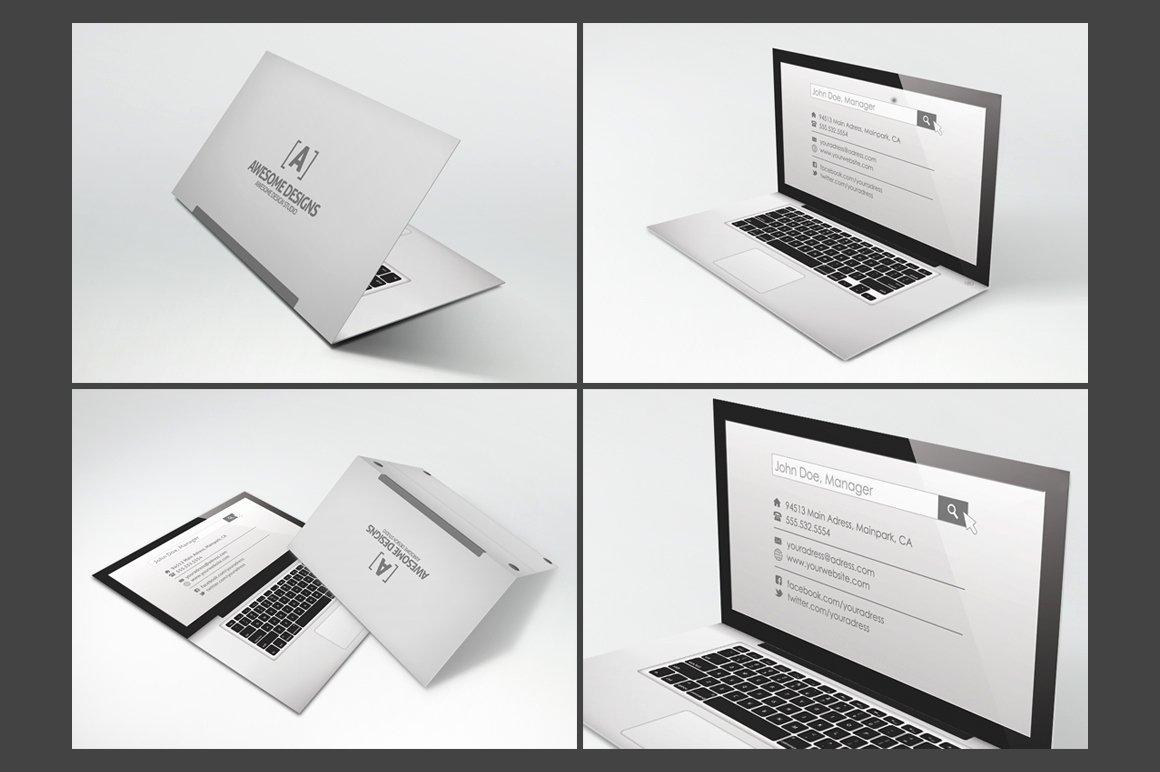 Folded Business Cards Template Unique Laptop Folded Business Card Template Business Card