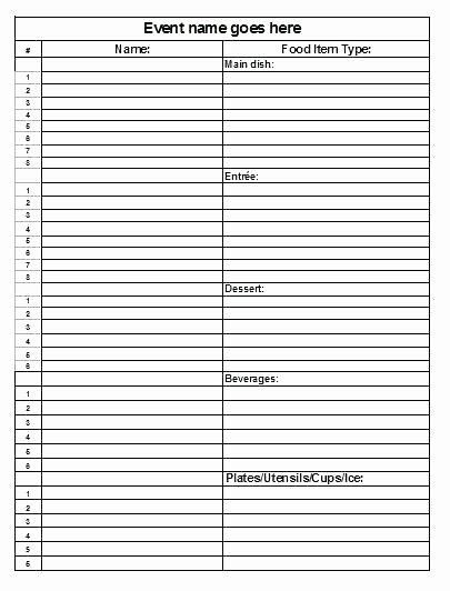 Food Sign Up Sheet Template Awesome Potluck Sign Up Sheet – Grnwav