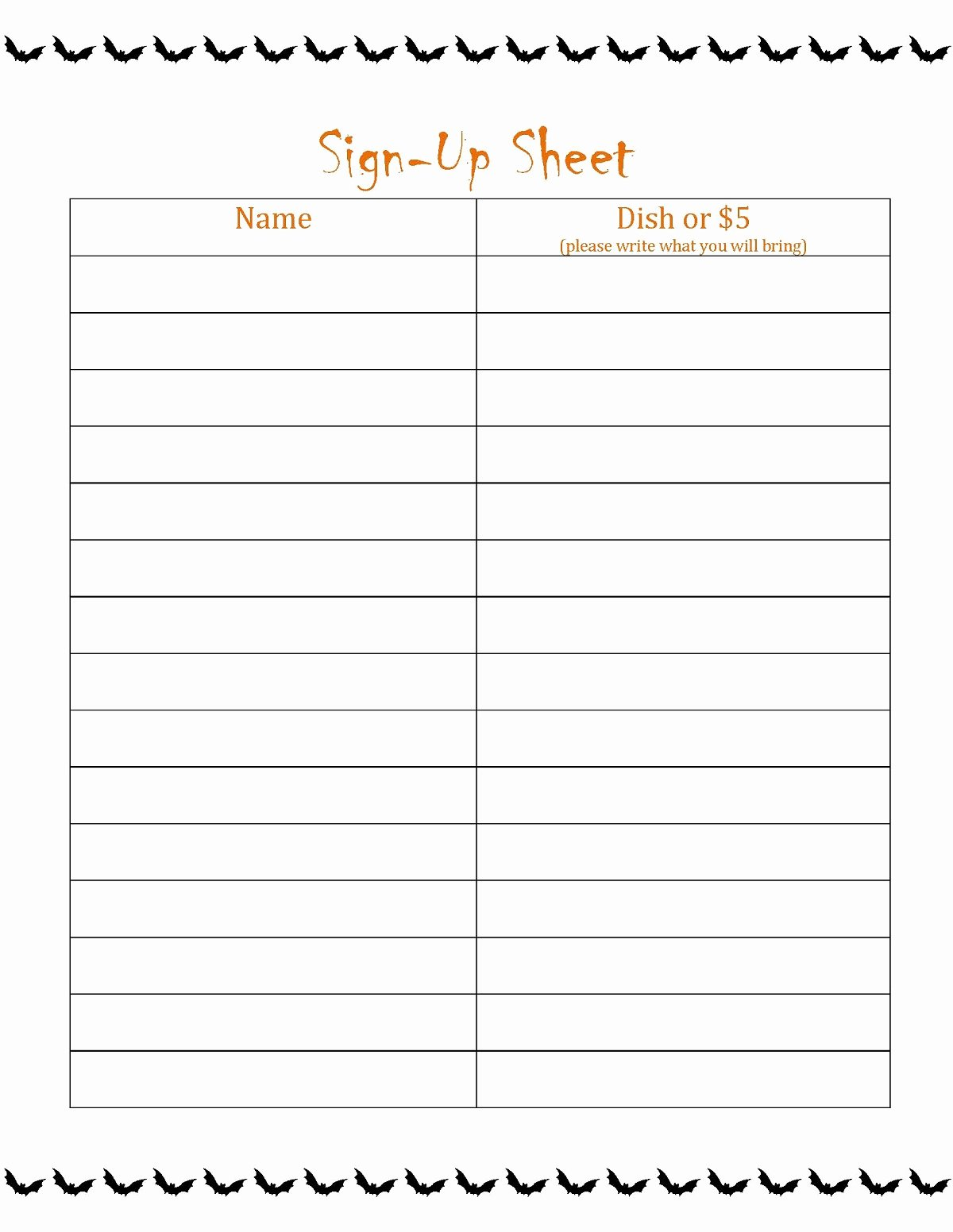 Food Sign Up Sheet Template Best Of Free Printable Sign Up Sheet Printable
