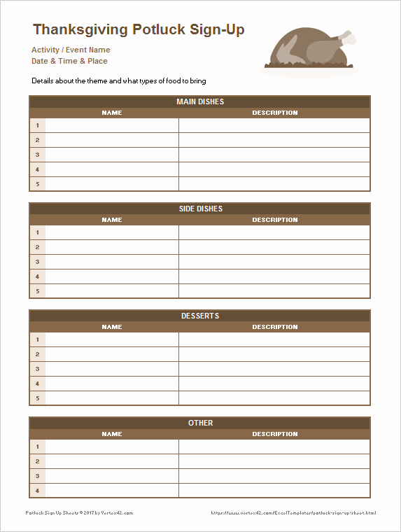 Food Sign Up Sheet Template Best Of Potluck Sign Up Sheets for Excel and Google Sheets