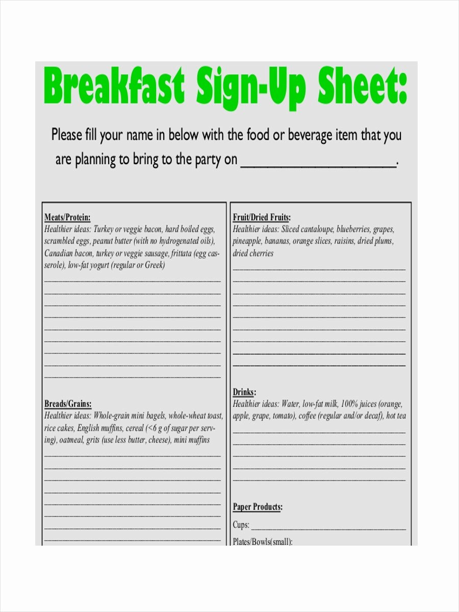 Food Sign Up Sheet Template Elegant 13 14 Potluck Sign Up Sheets Templates