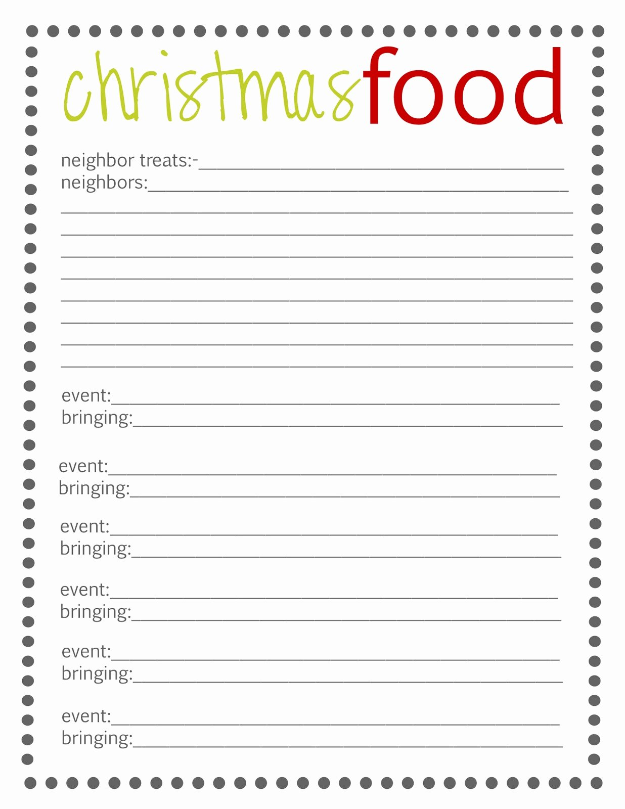 Food Sign Up Sheet Template Unique Lovely Little Snippets Planning Christmas 2012 Free
