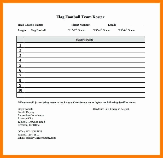 Football Depth Chart Template Excel Beautiful Football Depth Chart Template Excel Co Blank Roster for