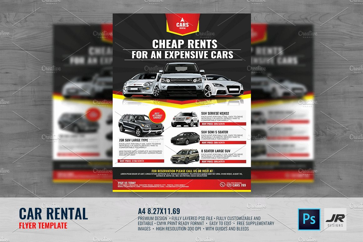 For Rent Flyer Template Free Fresh Car Rental Flyer Flyer Templates Creative Market