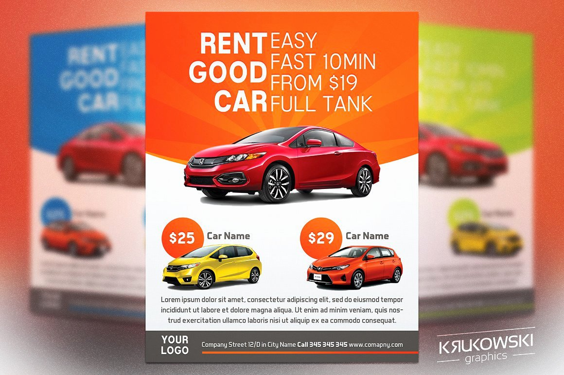 For Rent Flyer Template Free New Car Rental Flyer Template Flyer Templates Creative Market