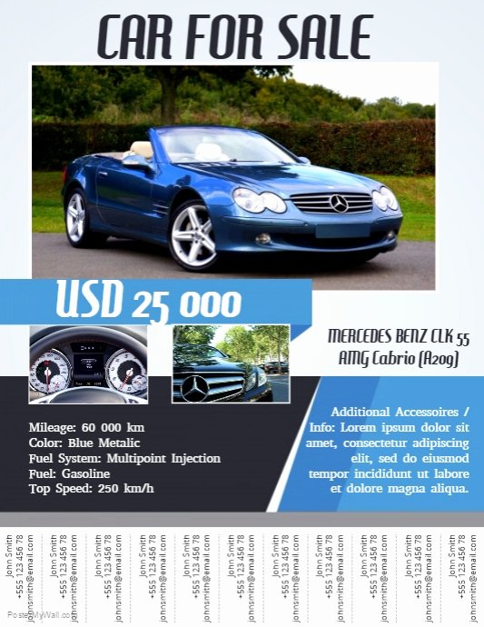 For Sale Flyer Template Beautiful Car for Sale Flyer with Tabs Template
