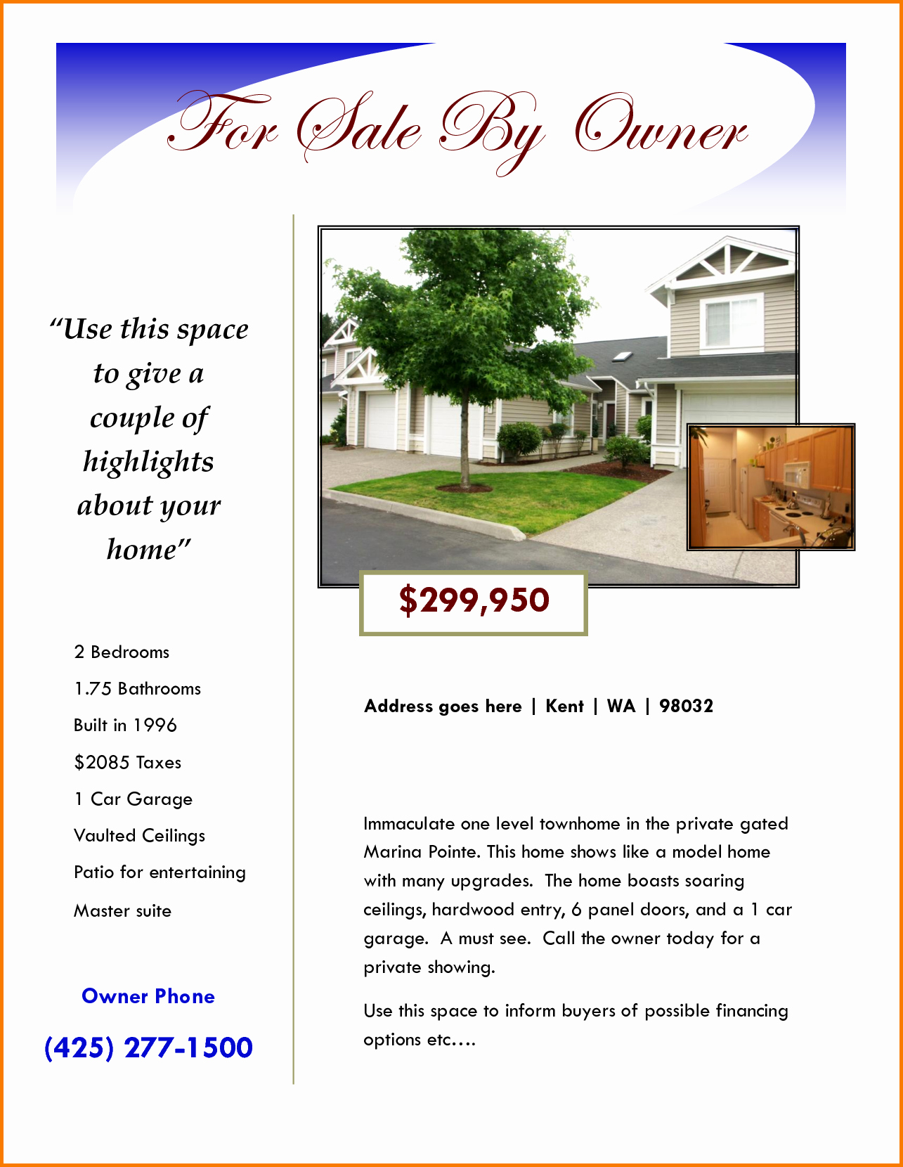 For Sale Flyer Template Best Of for Sale by Owner Flyer