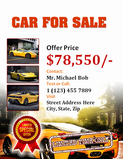 For Sale Flyer Template Elegant Car for Sale Flyer