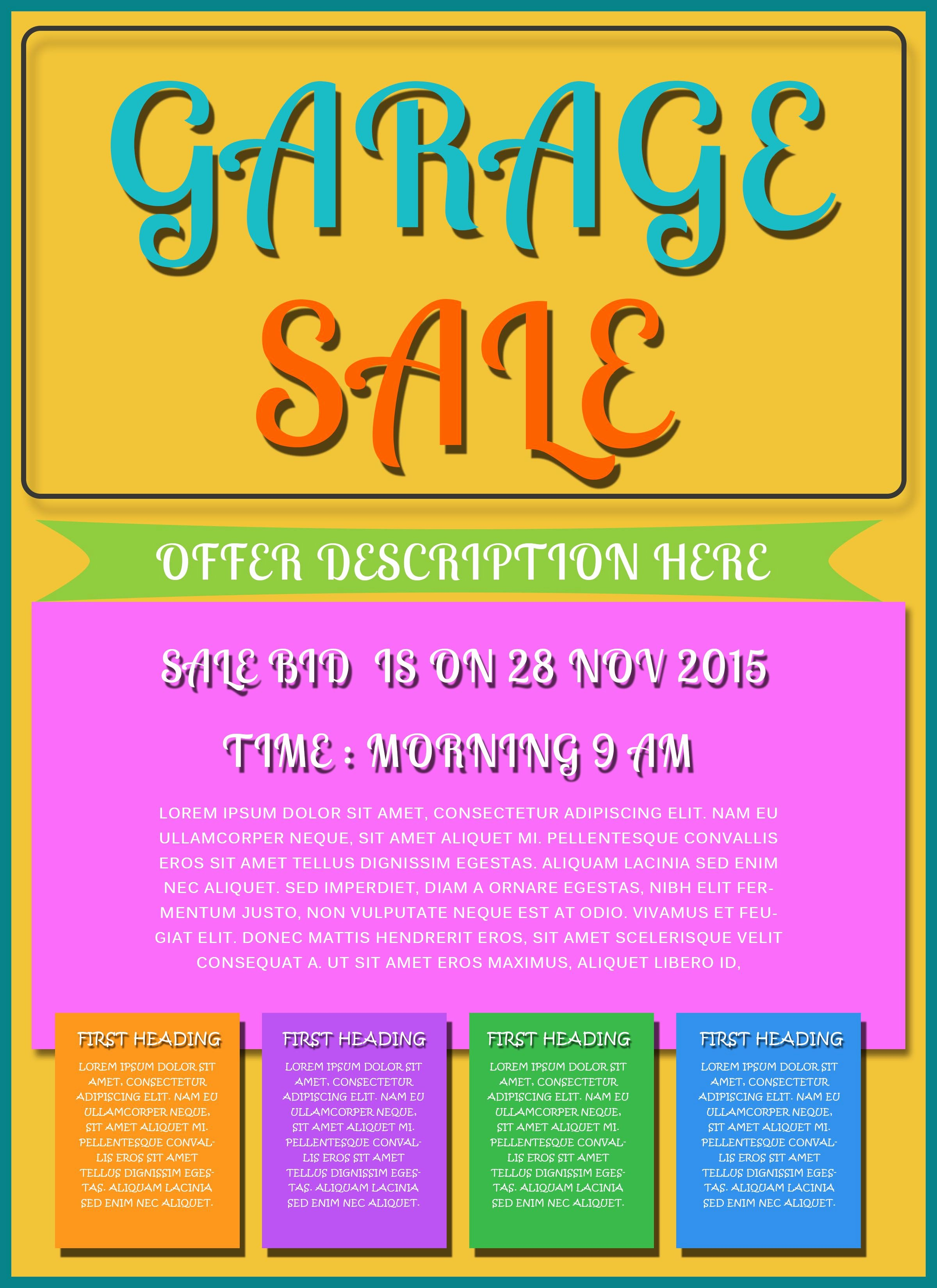 For Sale Flyer Template Inspirational Free Printable Garage Sale Flyers Templates attract More