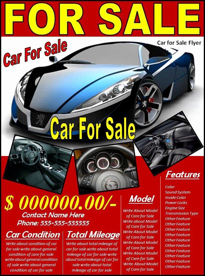 For Sale Flyer Template Unique Car for Sale Flyer Template Excel Pdf formats