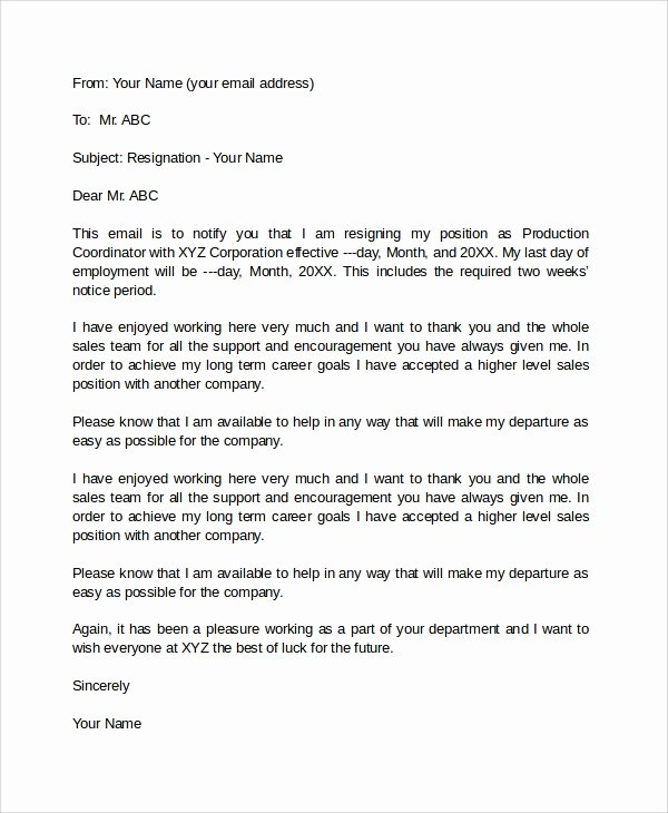 Formal E Mail Template Awesome 7 Sample Email Resignation Letters