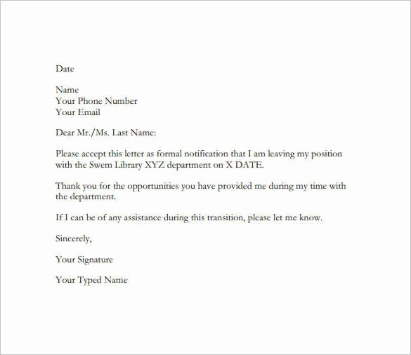 Formal E Mail Template Beautiful 23 Email Resignation Letter Templates Pdf Doc