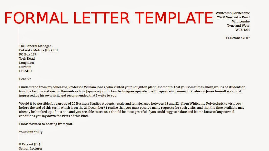 Formal E Mail Template Lovely May 2015 Samples Business Letters