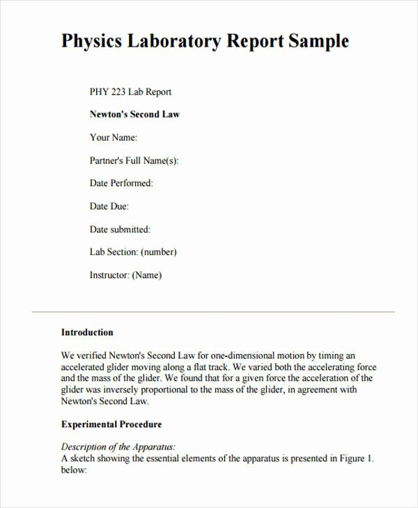 Formal Lab Report Template Beautiful 10 Sample Lab Reports