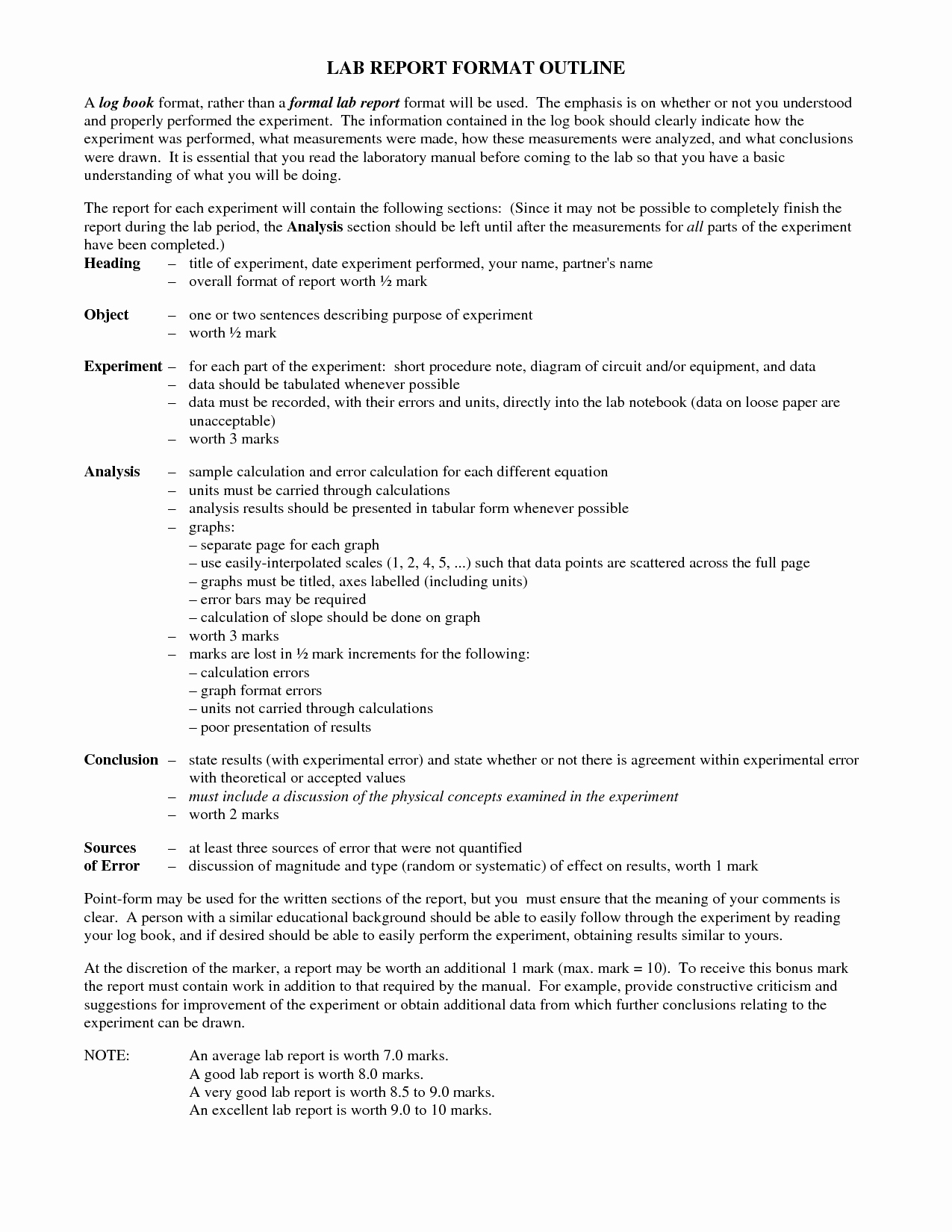 Formal Lab Report Template Elegant formal Report Outline Zoro Blaszczak