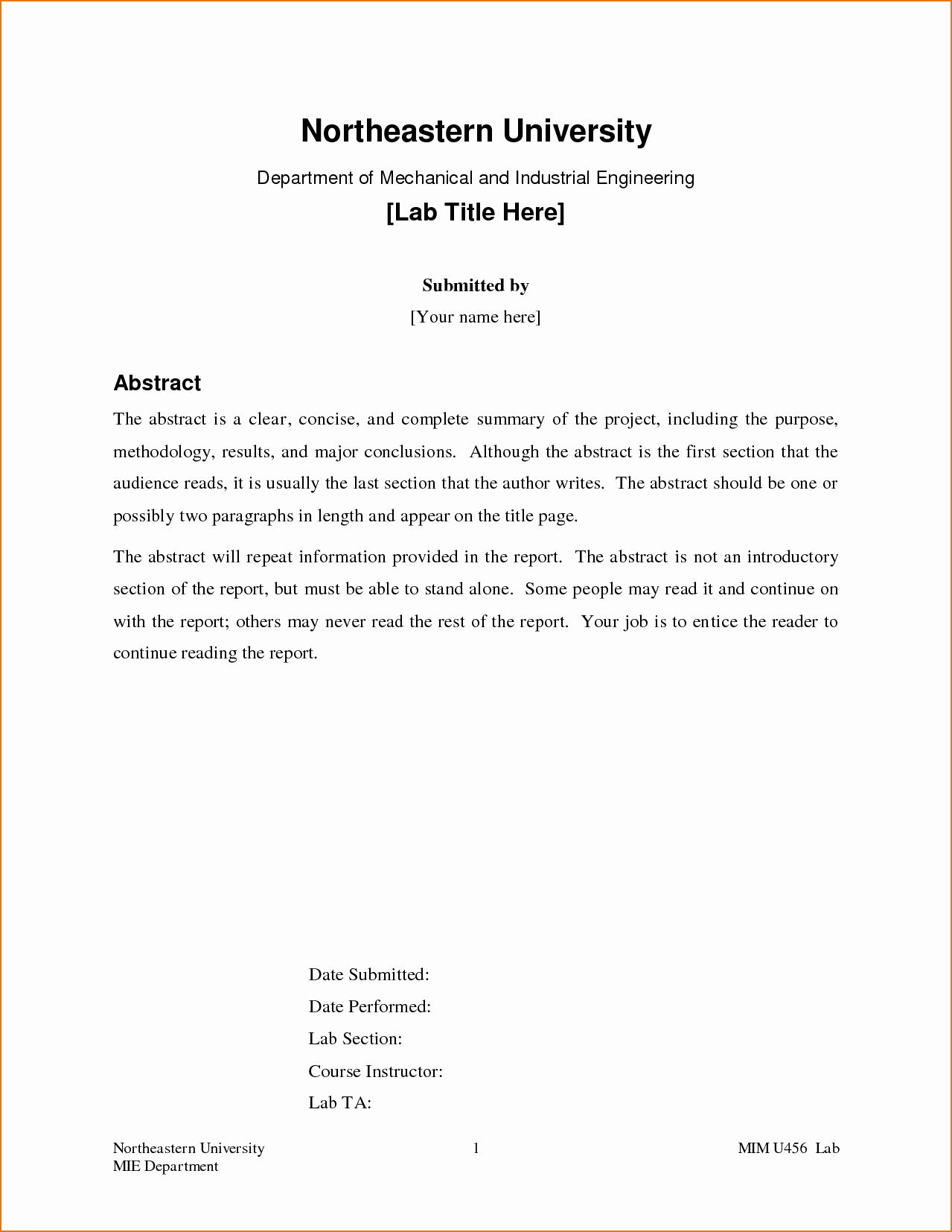 Formal Lab Report Template Elegant How to Write A formal Lab Report Abstract I Ghostwrite