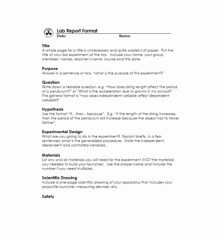 Formal Lab Report Template Fresh 40 Lab Report Templates & format Examples Template Lab