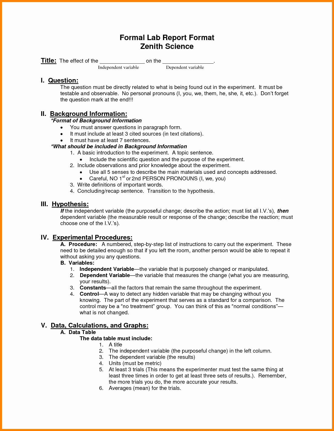 Formal Lab Report Template Fresh 9 Layout Of Lab Report