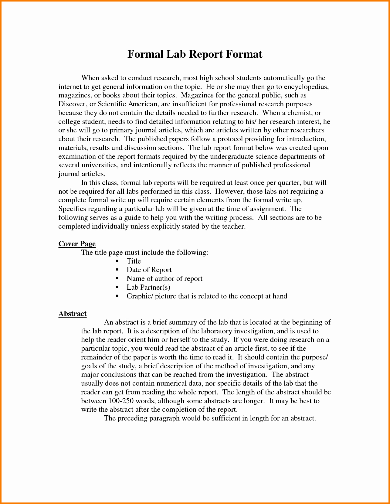 Formal Lab Report Template Fresh formal Lab Report Layout Mfacourses887 Web Fc2
