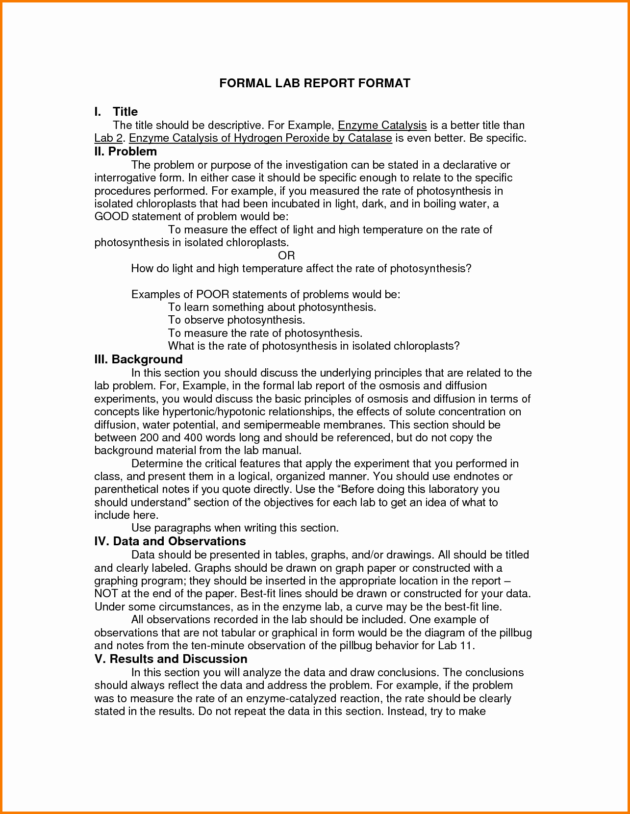 Formal Lab Report Template Inspirational 12 formal Lab Report Chemistry Example